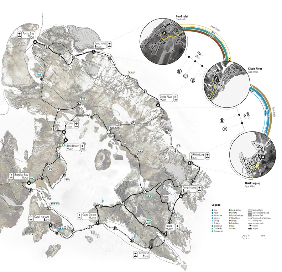 The Arctic Food Network proposal exists along the winter trails on Baffin Island, linking communities and ecologies. There are three hub types: A hubs are in the community; B hubs are just outside the community; while C hubs are between communities.