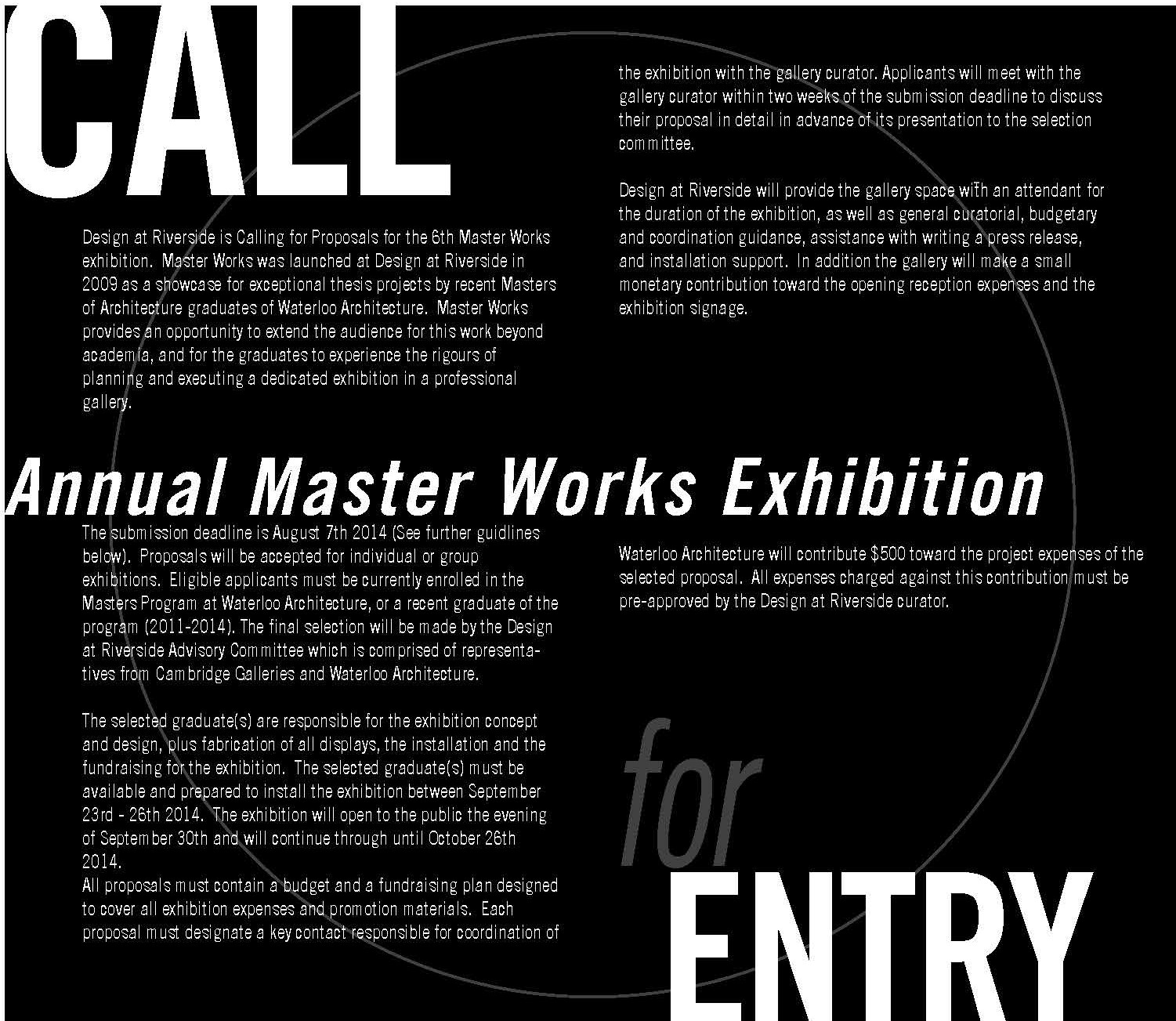 Call for Entry: Annual Master Works Exhibition