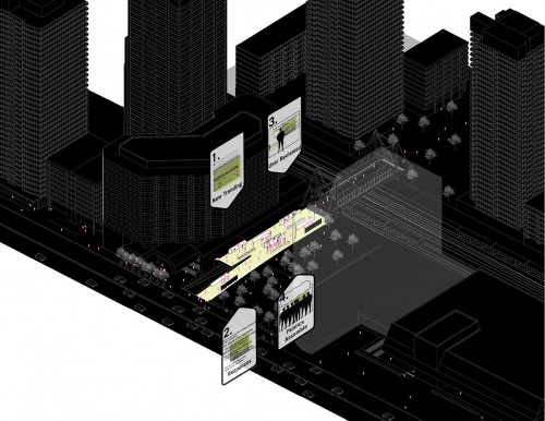 City scale axonometric of the Networked Public Walkway