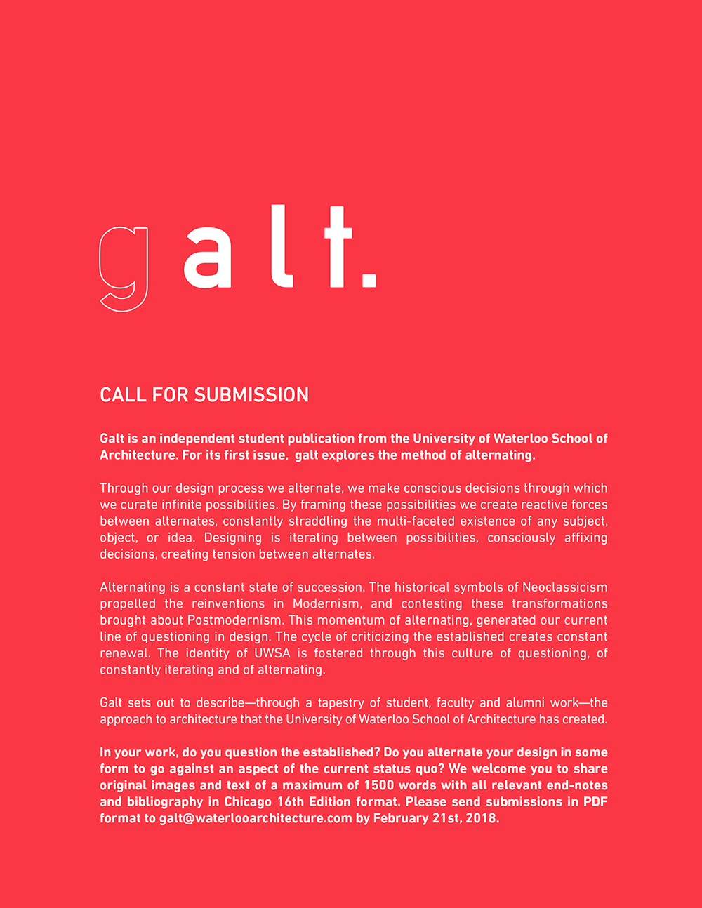 Galt Call for Submissions