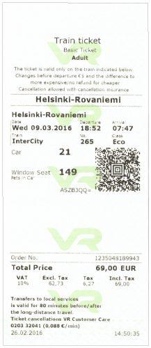 Helsinki Rovaniemi Ticket (front)